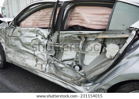 Car accident, insurance concept. Airbag is come out. - stock photo