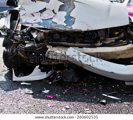 car accident on a city street. - stock photo
