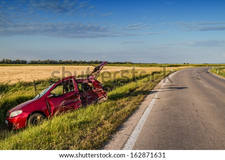 Car accident on road . - stock photo