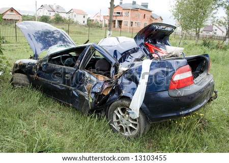 car accident on roadside - stock photo