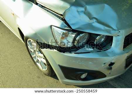 Car accident, part of car crash  insurance concept - stock photo