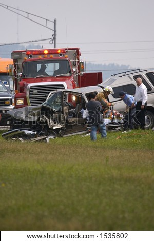 Car Accident Scene - stock photo