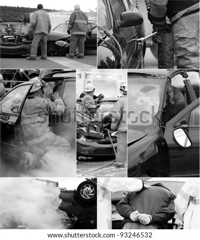 Car accident scene  collage, desaturated, with wrecked cars, an injured victim, firemen, ambulance and the drunk driver being arrested.  Each full sized image is in my portfolio. - stock photo
