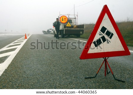 Car Accident sign on expressway - stock photo