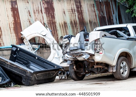 Car after an accident and waiting for repair