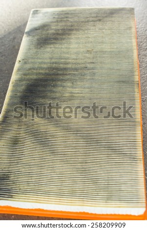 Car air filter is dirty. - stock photo