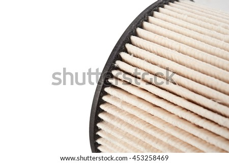 car air filter on white. Car fuel oil air filters, auto spare part, clipping path - stock photo