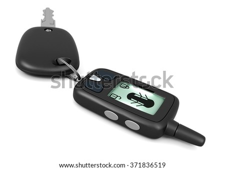 Car alarm remote control and key isolated on white background. 3d rendering. - stock photo