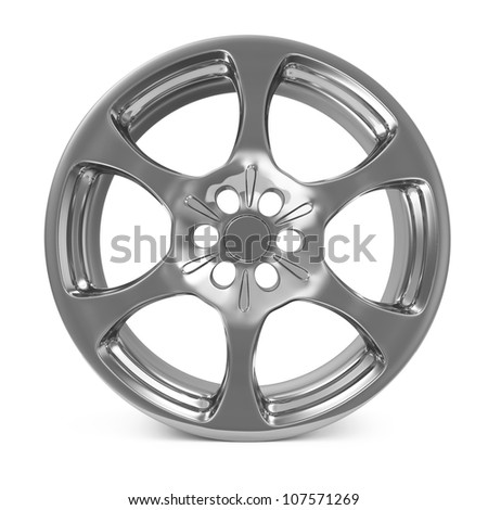 Car Alloy Rim isolated on white background - stock photo