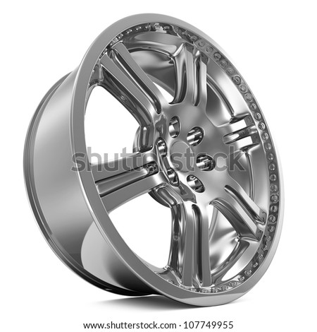 Car Alloy Rim isolated on white background - stock photo