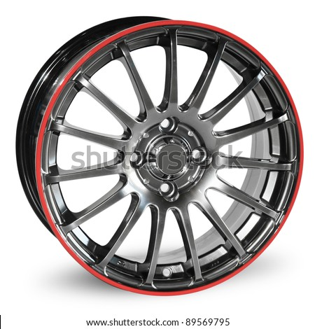 car alloy rim isolated over white. With Save path for Change the background - stock photo