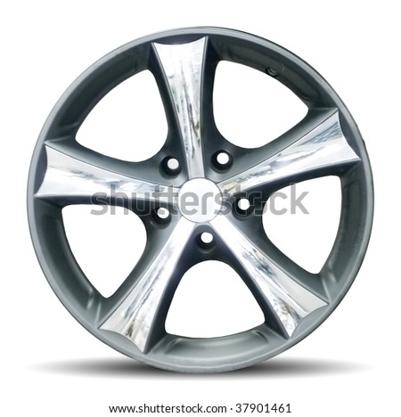 Car alloy rim on white background