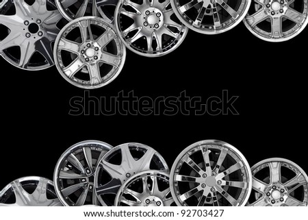 car alloy wheel background template design. isolated on black background - stock photo
