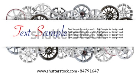 car alloy wheel background template design. isolated on white background - stock photo