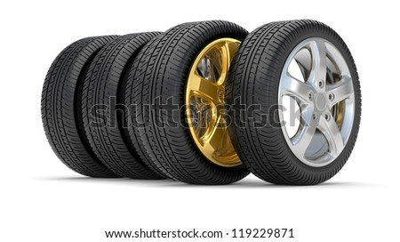car alloy wheel gold, over white background
