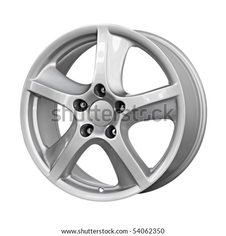 car alloy wheel, isolated on white