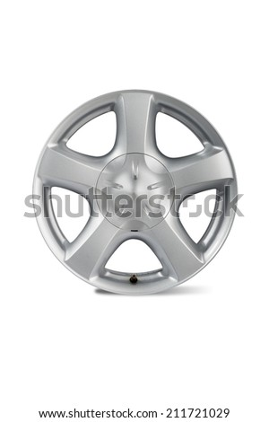 car alloy wheel, isolated on white background.