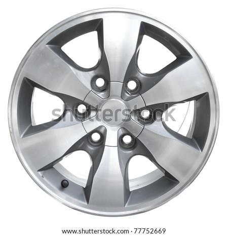 car alloy wheel, isolated over white background - stock photo