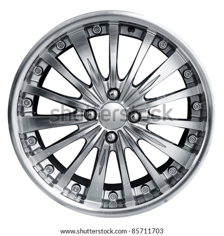 car alloy wheel, isolated over white background. (Save path) - stock photo