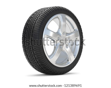 car alloy wheel, over white background - stock photo