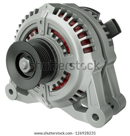 Car alternator isolated on a white background. 3D render. - stock photo