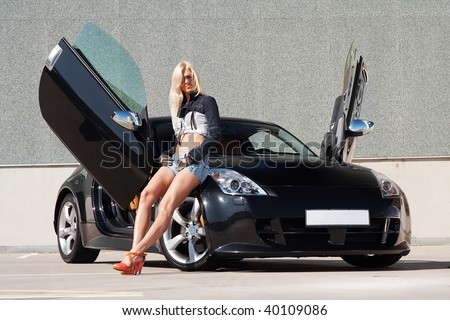Car and babe - stock photo