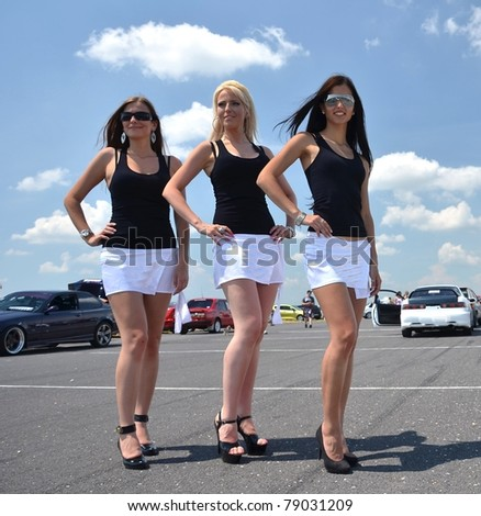 car and babes - stock photo
