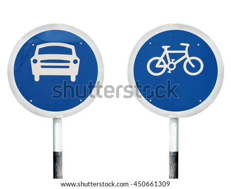 Car and bicycle lollipop signboards, isolated against white.