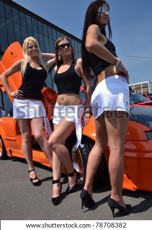 car and girls - stock photo