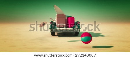 Car and happy woman traveling to the beach - stock photo