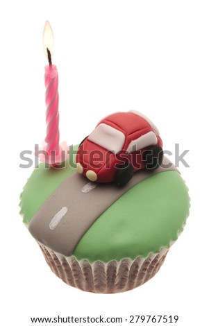 car anniversary concept isolated on a white background - stock photo