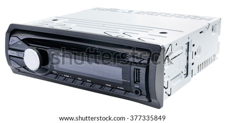 Car audio CD-player isolated on the white background