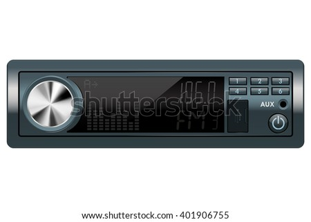 Car audio receiver. Raster version - stock photo