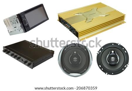 Car Audio set on isolated - stock photo