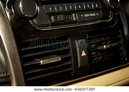 Car audio system front panel - stock photo