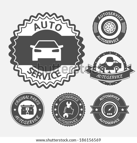 Car auto service labels badges emblems set isolated  illustration - stock photo