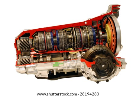 car automatic transmission part isolated - stock photo
