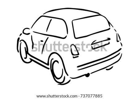 Car Back Side View Black And White Sketch Simple Drawing At Background