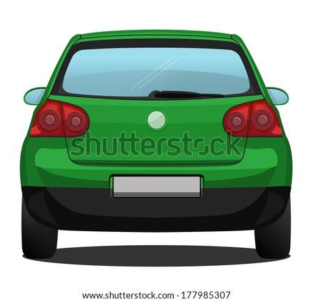 car back view green stock illustration 177985307 shutterstock rh shutterstock com back seat of car clipart Car Wash Clip Art
