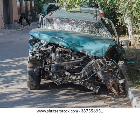 Car badly damaged as a result of a traffic accident. Transport
