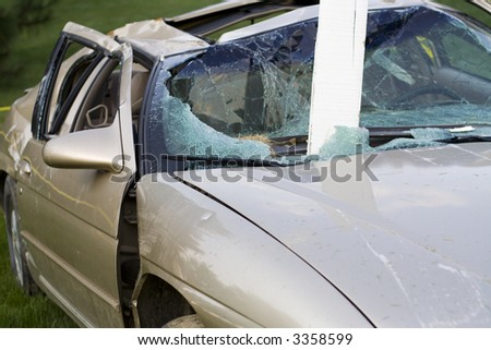 Car badly damaged in an accident by a drunk driver - stock photo