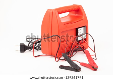 Car battery charger  isolated on white - stock photo