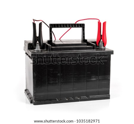 car battery charging isolated on white background