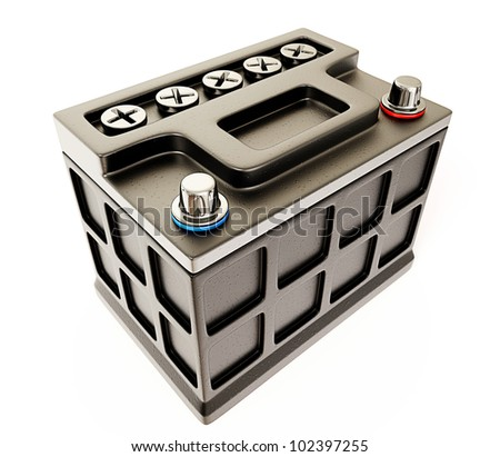 car battery isolated on a white background - stock photo