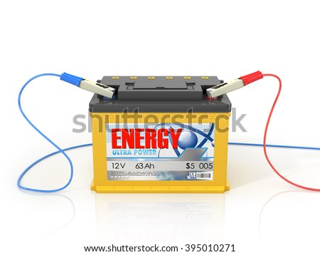 Car battery isolated on a white background?. - stock photo