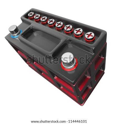 car battery isolated on a white background High resolution 3D render
