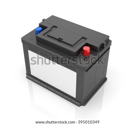 Car Battery isolated on white background. 3D image.