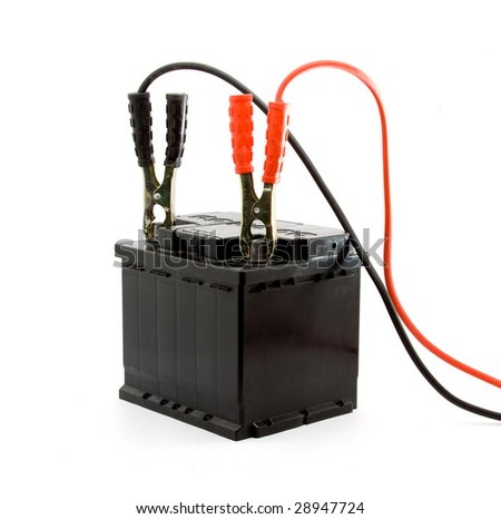 car battery jump start set studio isolated - stock photo