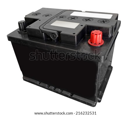 Car battery on white background - stock photo