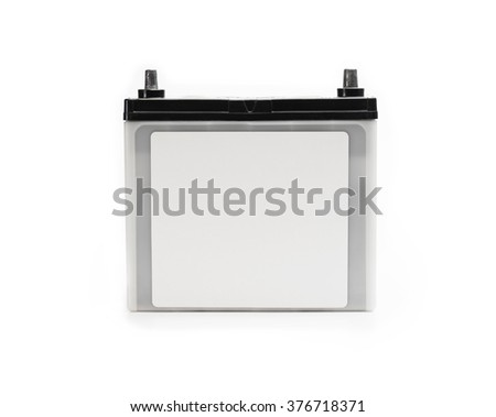 Car battery or automotive battery, with blank label, isolated on white. Rechargeable battery. - stock photo